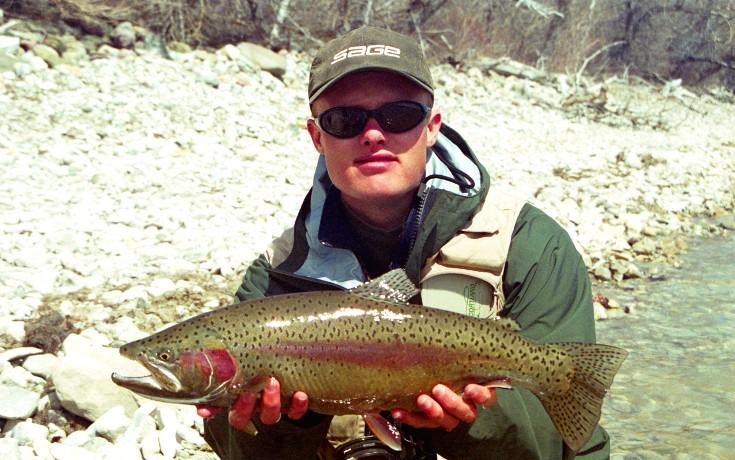 Stillwater rainbow trout on fly.