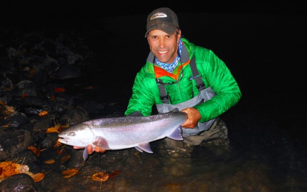 Swinging Great Lakes steelhead.