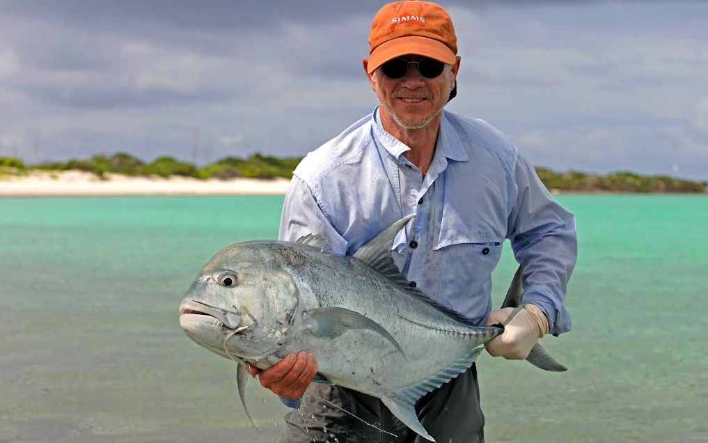Fly fishing saltwater giant trevally.